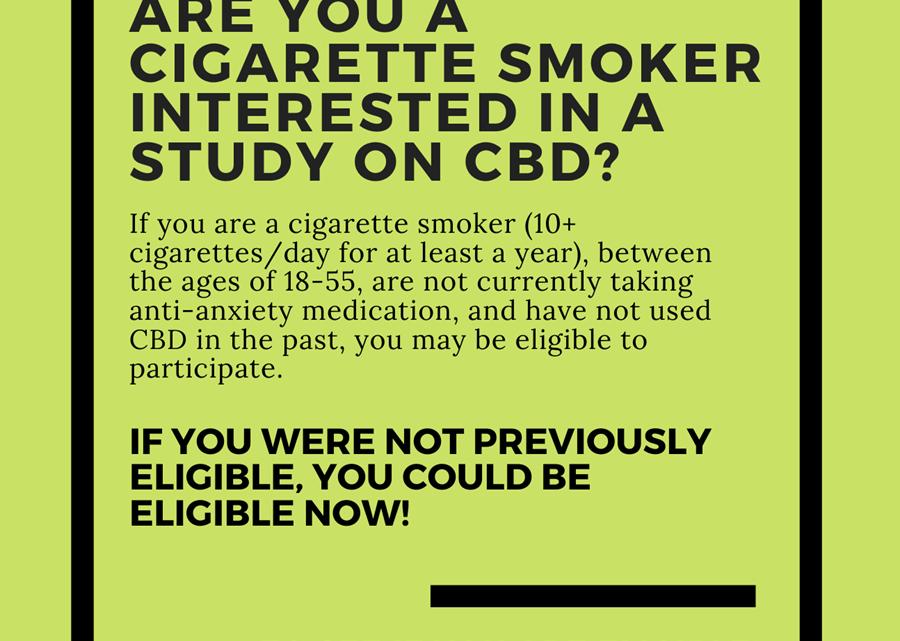 Critères d'éligibilité mis à jour: Êtes-vous un fumeur de cigarettes et êtes-vous intéressé par le CBD?