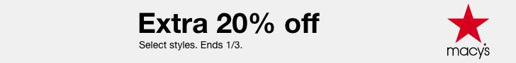 Après la vente de Noël!  20% de réduction supplémentaire avec le code JOY.  Achetez maintenant sur Macys.com!  Valide 12 / 25-1 / 3
