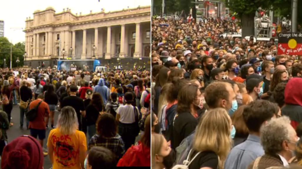 Le rassemblement « Invasion Day » de Melbourne dans le CBD en cours alors que le trafic est détourné