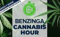 Le logo Benzinga Cannabis Hour.