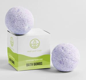 Well Leaf Care - Lavender Swirl CBD Bath Bombs