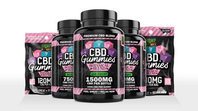 Hemp Bombs Botanical Blend CBD Gummies, disponibles en flacons de 50 et 100.  Forfaits 8 et 20 à venir.